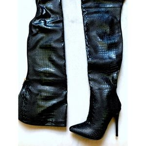 7f9d4d3c7a4 Akira Crocodile Leather Over The Knee Boots NWT